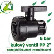 kulový ventil PP 2, 6 bar, jednostranně rozpojitelný, napojení oboustranné vnitřní šroubení 2