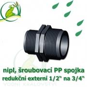 nipl 1/2 na 3/4, jezírková PP spojka redukce, šroubení externí 1/2 na externí 3/4
