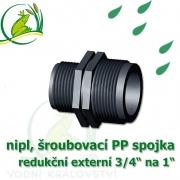 nipl 1 na 3/4, jezírková PP spojka redukce, šroubení externí 1 na externí 3/4