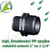 nipl 1 1/4 na 1, jezírková PP spojka redukce, šroubení externí 1 1/4 na externí 1