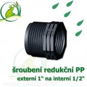 šroubení jezírková PP redukce, externí 1 na interní 1/2