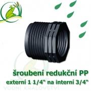 šroubení jezírková PP redukce, externí 1 1/4 na interní 1