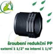 šroubení jezírková PP redukce, externí 1 1/2 na interní 1 1/4