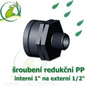šroubení jezírková PP redukce, interní 1 na externí 1/2