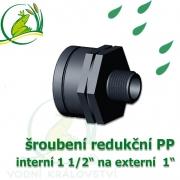 šroubení jezírková PP redukce, interní 1 1/2 na externí 1