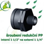 šroubení jezírková PP redukce, interní 1 1/2 na externí 1 1/4