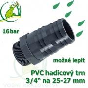 PVC šroubovací trn, 3/4 externí závit, trn na 25-27 mm hadici