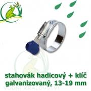 Stahovák pozink extra, 13-19 mm s klíčem, šíře 9,5 mm