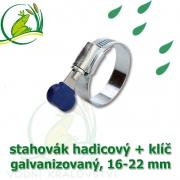 Stahovák pozink extra, 16-22 mm s klíčem, šíře 12 mm