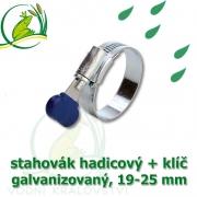 Stahovák pozink extra, 19-25 mm s klíčem, šíře 12 mm
