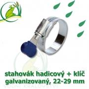 Stahovák pozink extra, 22-29 mm s klíčem, šíře 12 mm