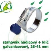 Stahovák pozink extra, 28-41 mm s klíčem, šíře 12 mm