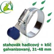 Stahovák pozink extra, 31-48 mm s klíčem, šíře 12 mm