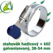 Stahovák pozink extra, 38-54 mm s klíčem, šíře 12 mm