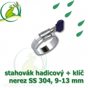 Spona, stahovák 9-13 mm, nerez, S304 s klíčem