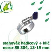 Spona, stahovák 13-19 mm, nerez, S304 s klíčem