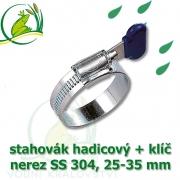 Spona, stahovák 25-35 mm, nerez, S304 s klíčem