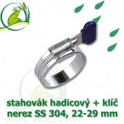 Spona, stahovák 22-29 mm, nerez, S304 s klíčem