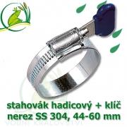 Spona, stahovák 44-60 mm, nerez, S304 s klíčem