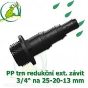 Trn redukční PP, závit 3/4 ext. na 25-20-13 mm