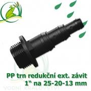 Trn redukční PP, závit 1 ext. na 25-20-13 mm