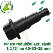 Trn redukční PP, závit 1 1/2 ext. na 40-32-25 mm