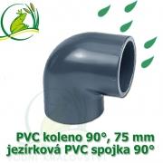 PVC koleno 75 mm, jezírková spojka 90°, lepení/lepení