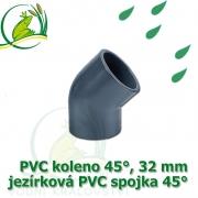 PVC koleno 45°, 32 mm, jezírková spojka 45°, lepení/lepení
