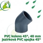 PVC koleno 45°, 40 mm, jezírková spojka 45°, lepení/lepení
