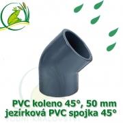 PVC koleno 45°, 50 mm, jezírková spojka 45°, lepení/lepení