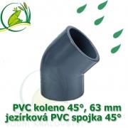 PVC koleno 45°, 63 mm, jezírková spojka 45°, lepení/lepení