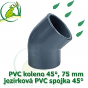 PVC koleno 45°, 75 mm, jezírková spojka 45°, lepení/lepení