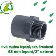 PVC spojka lepení 63 mm na 2 externí šroubení, jezírková