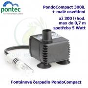 Fontánové čerpadlo + mini osvětlení - Pontec PondoCompact 300i, max. průtok 300 l/h, výtlak 0,7 m, příkon 5W,