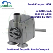 Fontánové čerpadlo - Pontec PondoCompact 600, max. průtok 600 l/h, výtlak 0,8 m, příkon 11W,