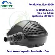 Jezírkové čerpadlo Pontec PondoMax Eco 8000, max. průtok 8000 l/h, výtlak 2,8 m, příkon 80W,