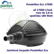 Jezírkové čerpadlo Pontec PondoMax Eco 17000, max. průtok 17000 l/h, výtlak 3,8 m, příkon 180W,