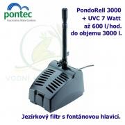 Kompaktní podvodní filtr s fontánovou tryskou a 7 Watt UV - Pontec PondoRell 3000, 600 litrů/hod, max. výtlak 1,3 m, příkon 20W, UV-C 7W
