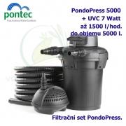 Tlaková filtrační sada Pontec PondoPress 5000, pro jezírka do 5000 litrů, UV-C 7 Watt, max. průtok 1500 l/h, hadice 5m