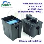 Průtoková filtrační sada Pontec MultiClear Set 5000, pro jezírka do 5000 litrů, UV-C 7 Watt, max. průtok 1500 l/h, hadice 3m
