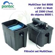 Průtoková filtrační sada Pontec MultiClear Set 8000, pro jezírka do 8000 litrů, UV-C 11 Watt, max. průtok 2500 l/h, hadice 3m