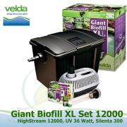 Velká kazetová filtrace GIANT XL SET 12000, filtrace+ponorné UV 36 Watt, čerpadlo High Stream 12000 litrů/hod., pro jezírka 20-60.000 litrů, vzduchovací kompresor, bakterie, minerální látky
