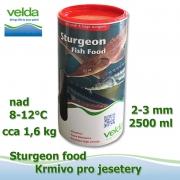 2500 ml jeseteří krmivo o velikosti cca 3 mm, pro malé i velké jesetery, pro celoroční krmení