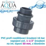 PVC šroubení, rozpojitelné, profi 16 bar, externí závit 1 1/2 na 50 mm interní lepení