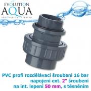 PVC šroubení, rozpojitelné, profi 16 bar, externí závit 2 na 50 mm interní lepení