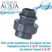 PVC šroubení, rozpojitelné, profi 16 bar, externí závit 1 1/2 na 1 1/2 interní lepení