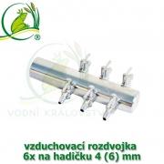 Pochromovaný rozdělovač, vzduchovací rozdvojka 4 (6) mm - 6 vývodů