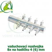 Pochromovaný rozdělovač, vzduchovací rozdvojka 4 (6) mm - 8 vývodů