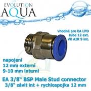 EA 3/8 BSP Male Stud connector 3/8 závit int + rychlospojka 12 mm