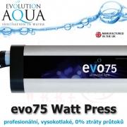 Prefesionální UV zářič evo press 75 Watt, v novém provedení v tlakové verzi, s nulovým odporem, výkon cca 100 Watt